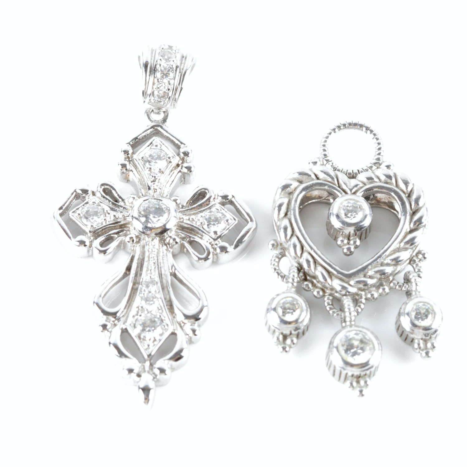 Sterling Silver Heart and Cross Pendants
