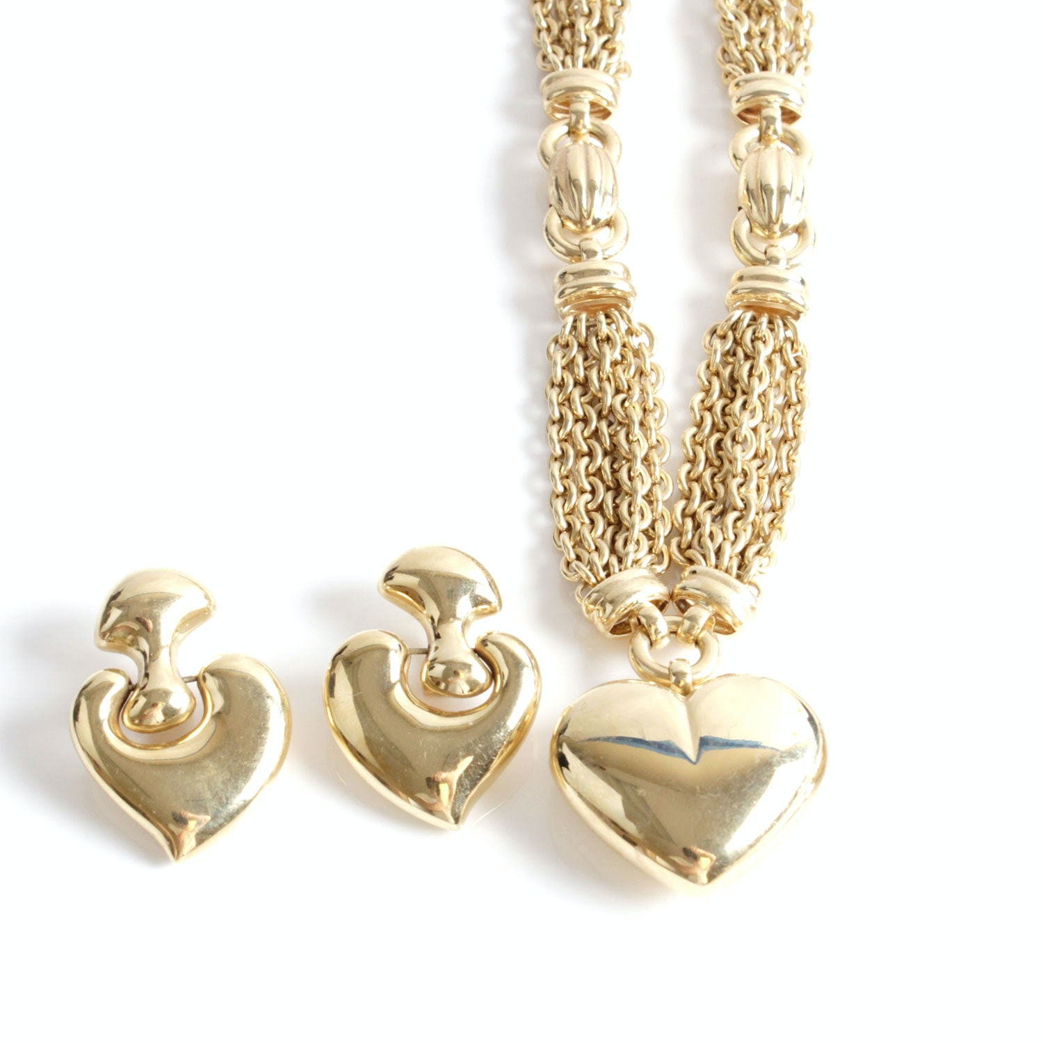 Giulio Marotto 18K Yellow Gold Heart Necklace and Earrings