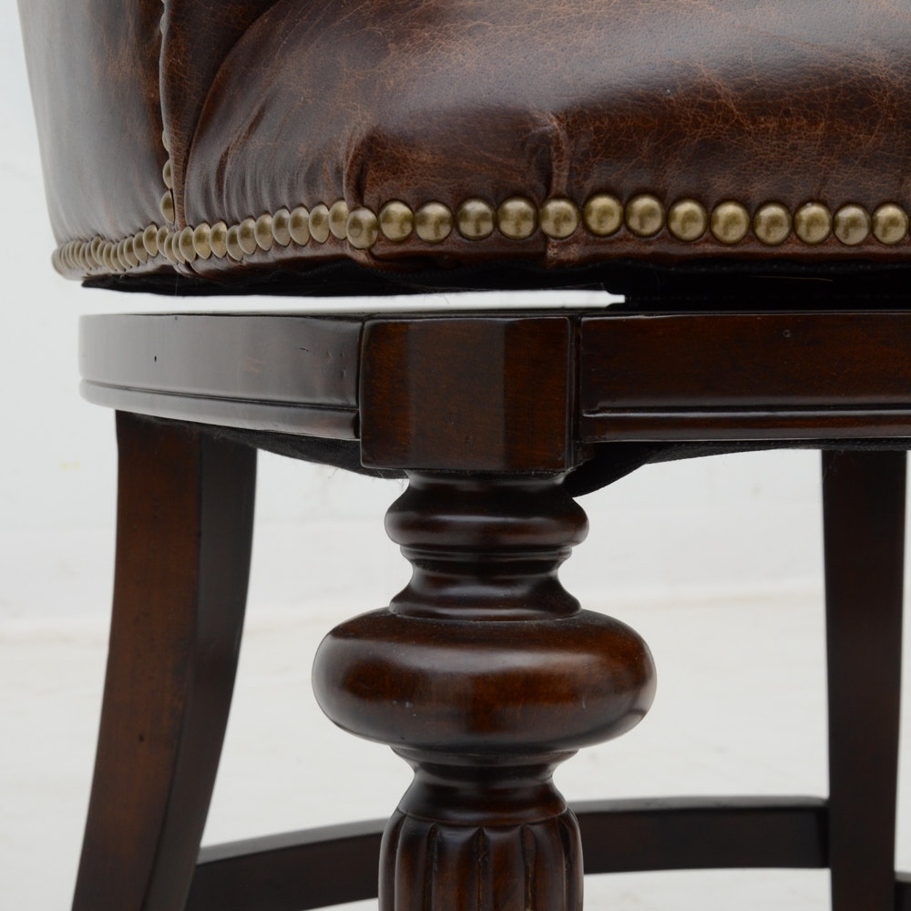 Four Frontgate Leather Upholstered Swivel Stools Ebth