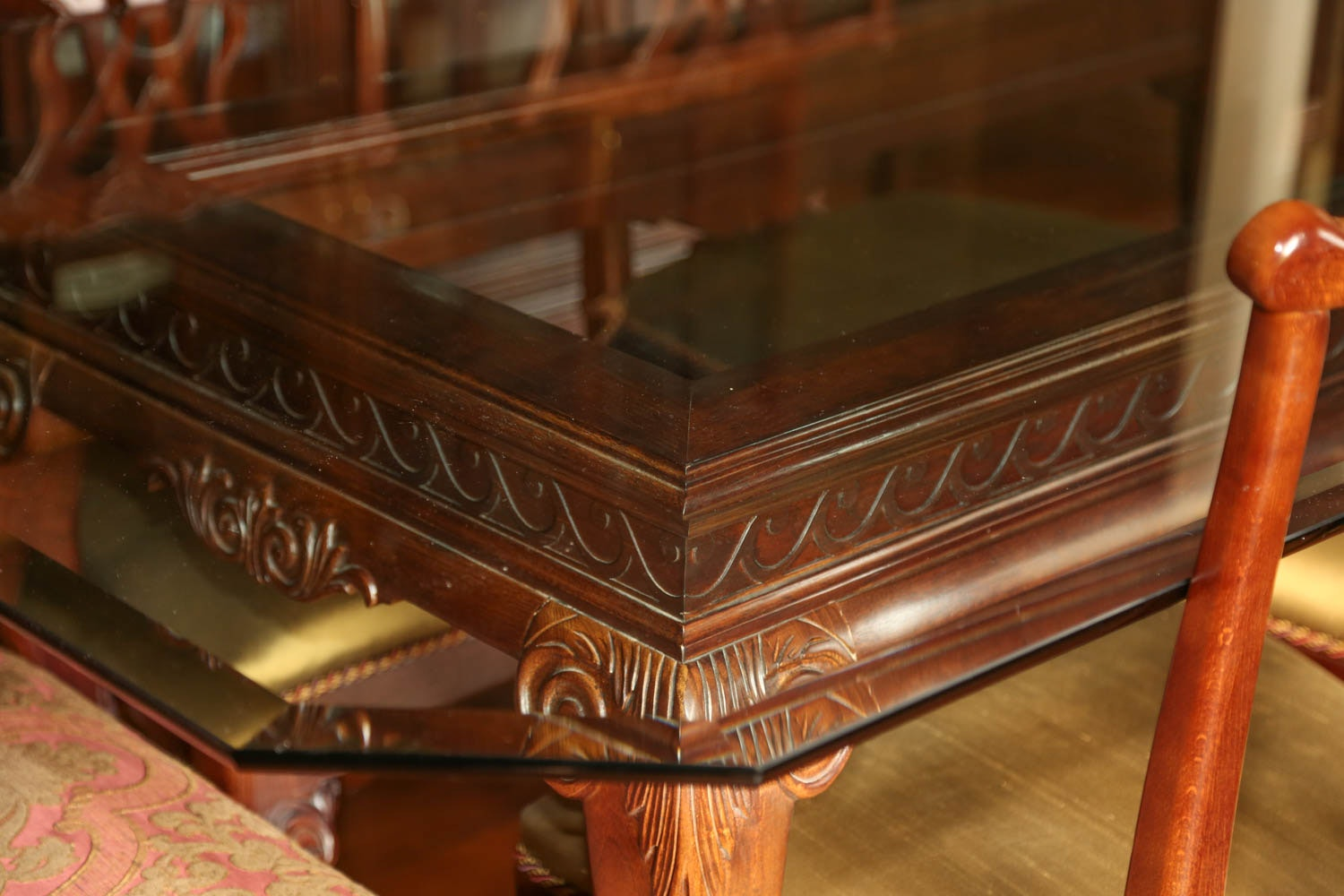 chippendale style cherry dining room table with six chairs