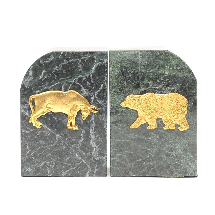 Marble Bear And Bull Bookends ...