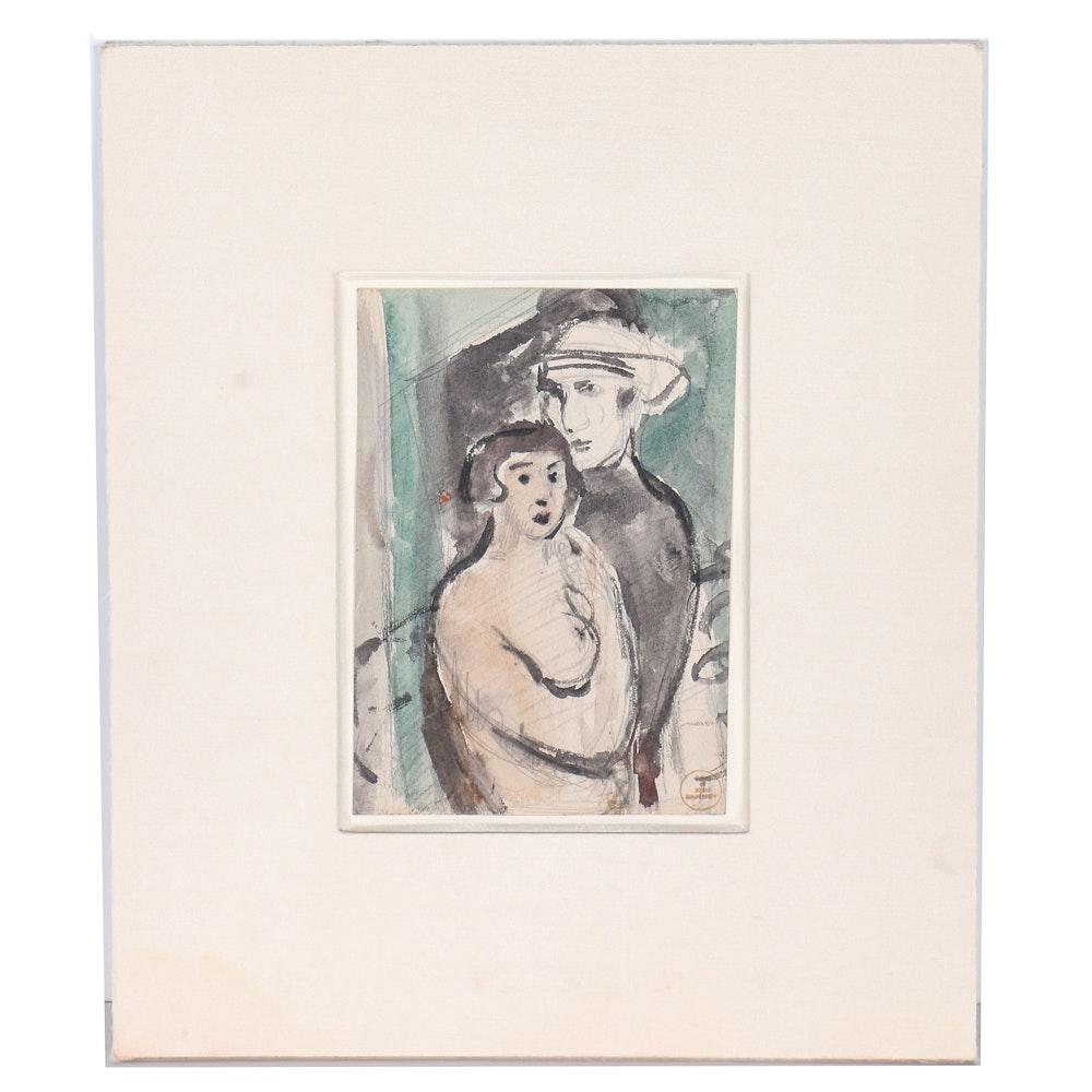 "Boris Solotareff Watercolor and Graphite on Paper ""The Artist and His Model"""