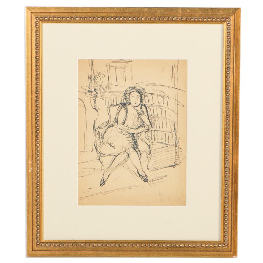 "Boris Solotareff Ink on Paper ""Woman on Sofa"""