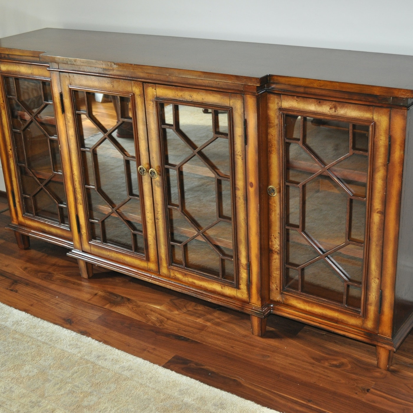Walnut finish sideboard with glass doors ebth for Sideboard glasfront