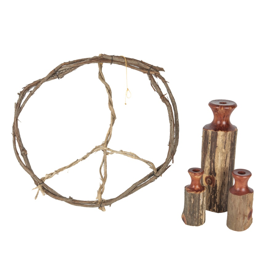 Collection Of Handcrafted Cedar Candle Holders And Peace Sign