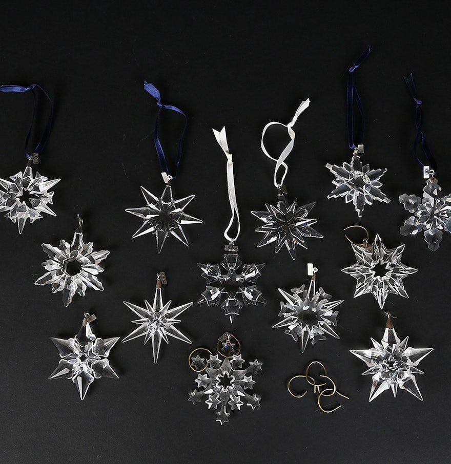 Christmas snowflake ornaments - Collection Of Swarovski Snowflake Ornaments