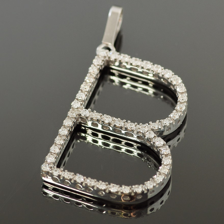 pin b initial pendant diamond dch plated charm silver pave gold over