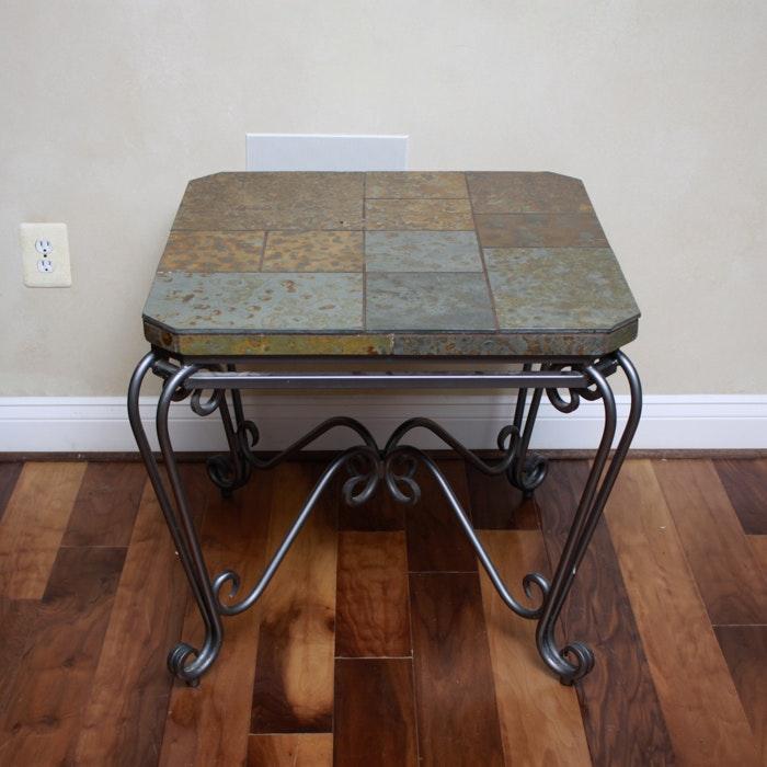 Metal Coffee Table With Slate Tiles: Metal Table With Marble Tile Top And Glass Shelves : EBTH