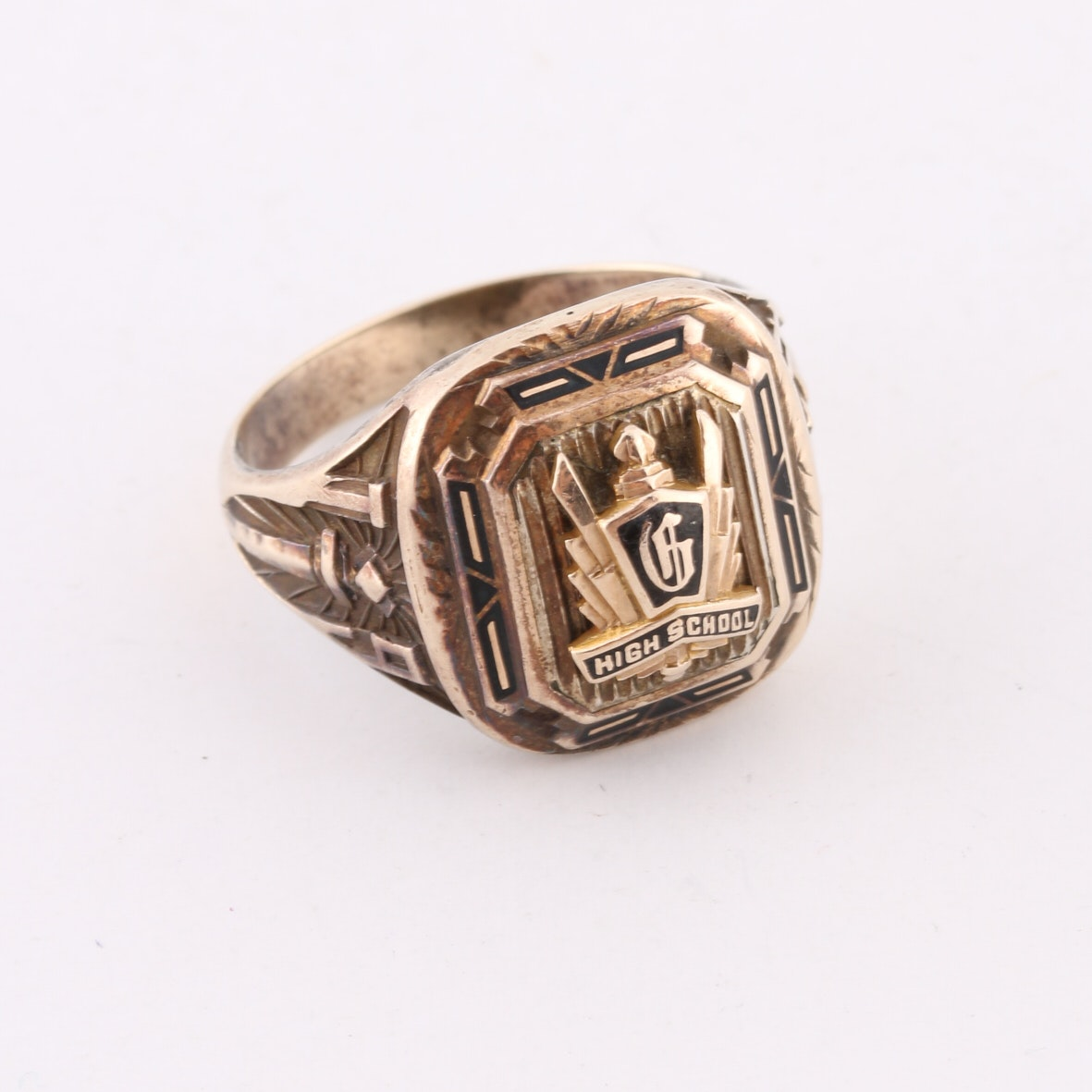 10k yellow gold and sterling silver herff jones deco