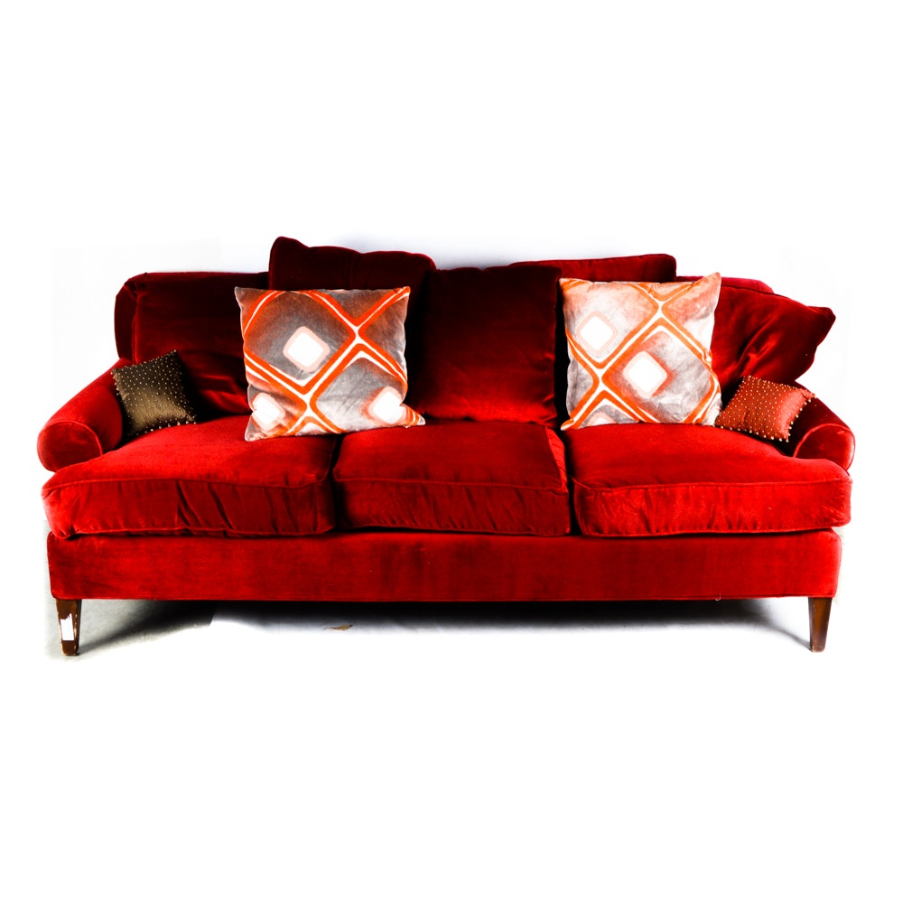 Contemporary Red Velvet Sofa by Z Gallerie EBTH