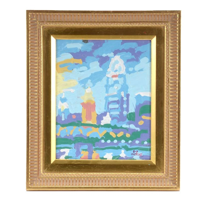"""Tom Lohre Melted Oil Pastel Painting """"Queen City Building I"""""""