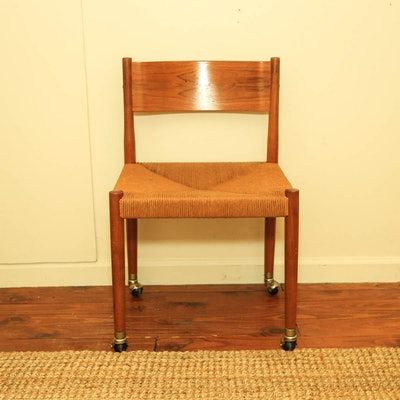 Danish Modern Faux Leather Chair And Ottoman Ebth