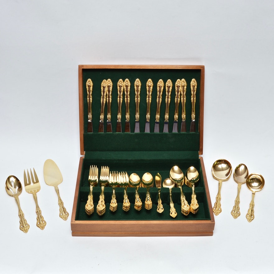 12 Piece Set Of Gold Plated Silverware