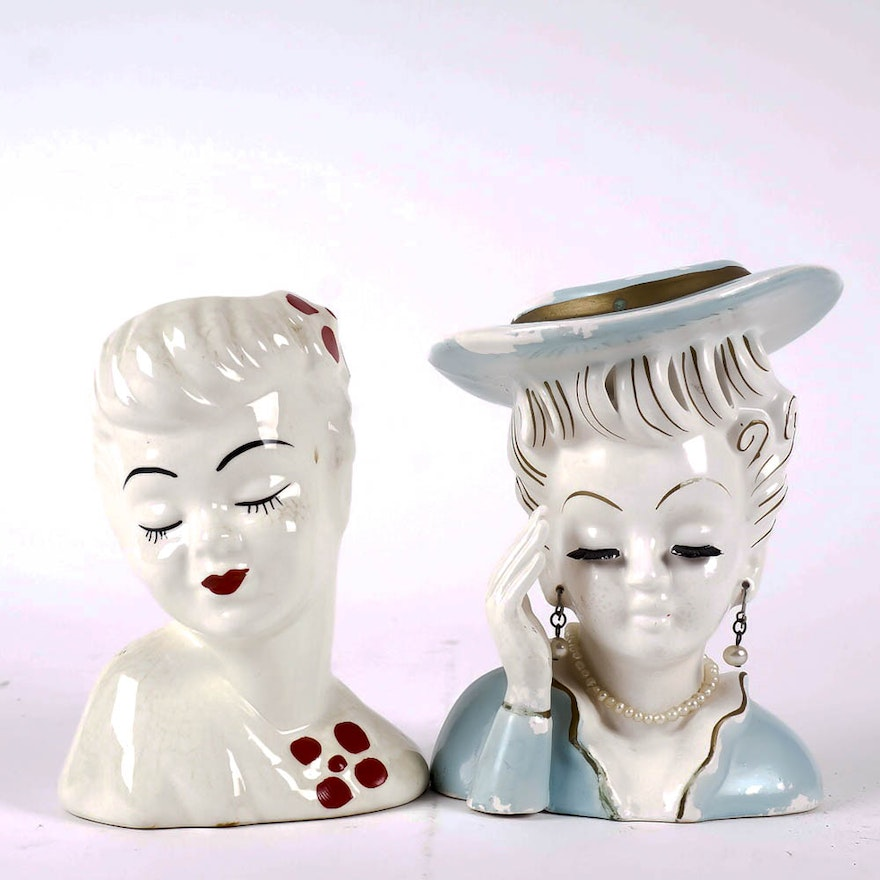 Vintage Lady Head Vases Including Napco Ebth