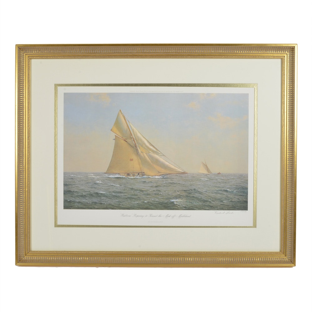 """Richard Loud """"Babboon Preparing to Round the Mark Off Marblehead"""" Lithograph"""