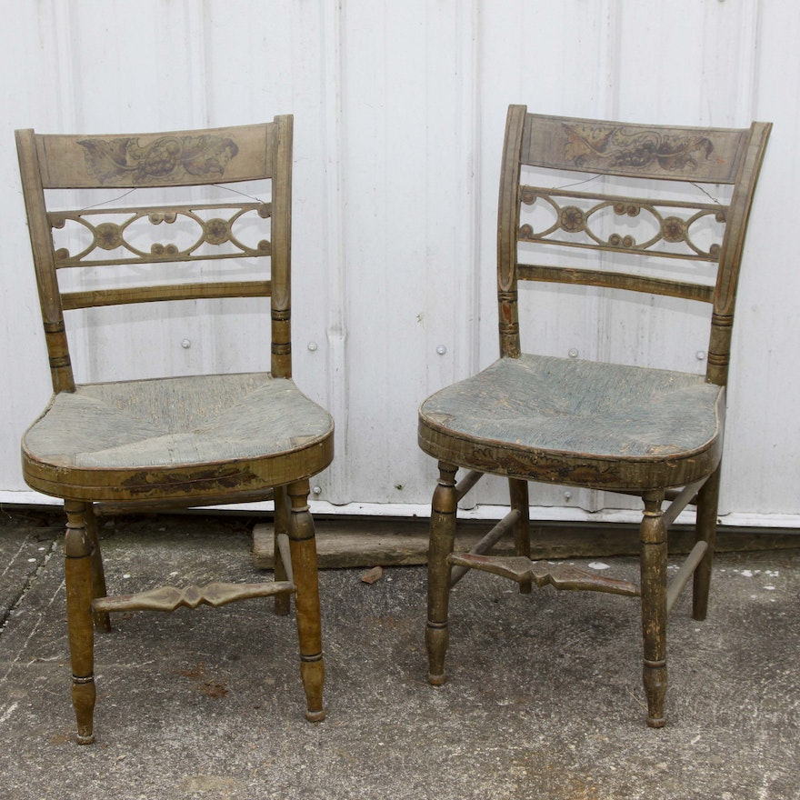 Pair Of Antique Country Kitchen Chairs