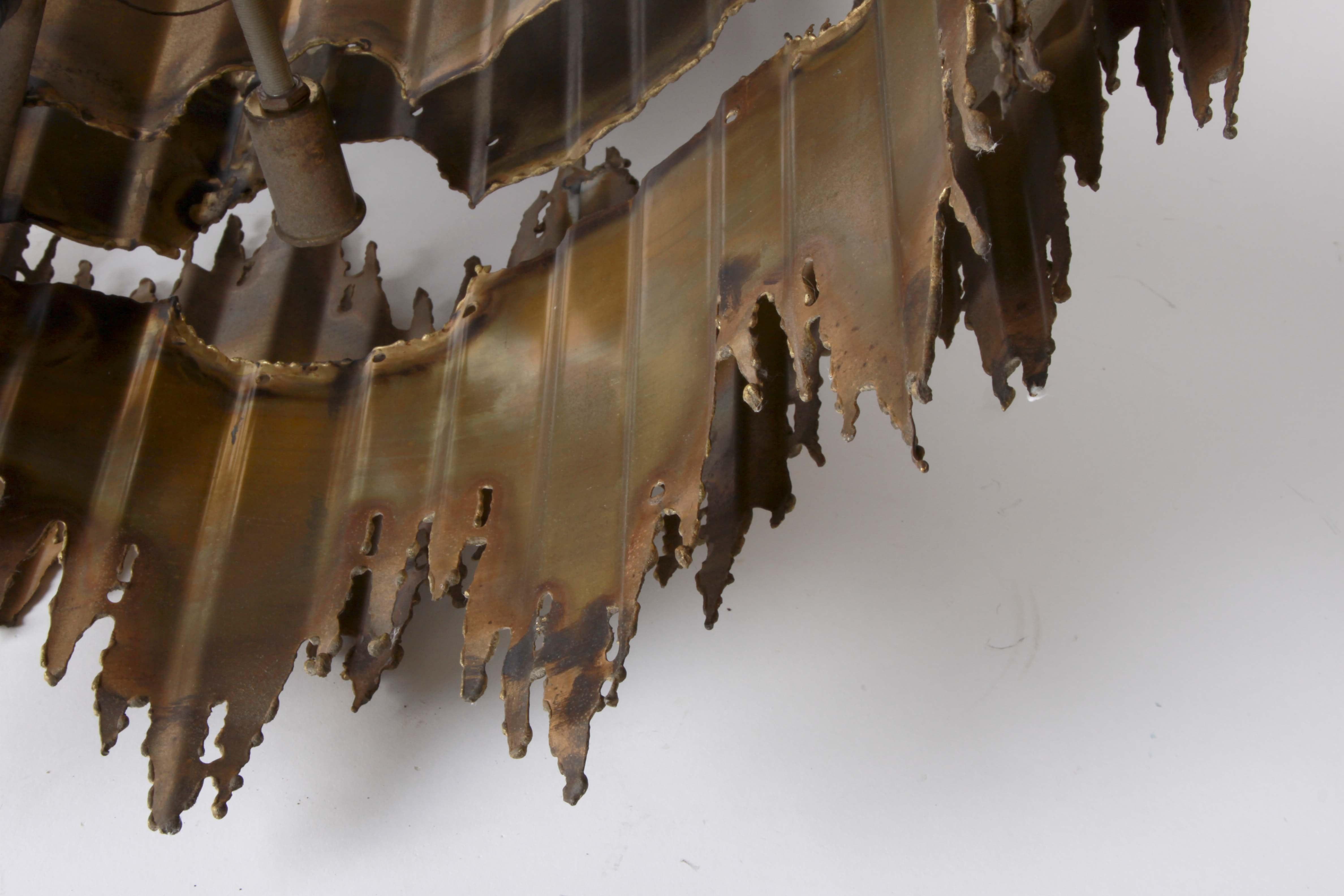 Mid Century Modern Tom Greene Torch Cut Brass Brutalist