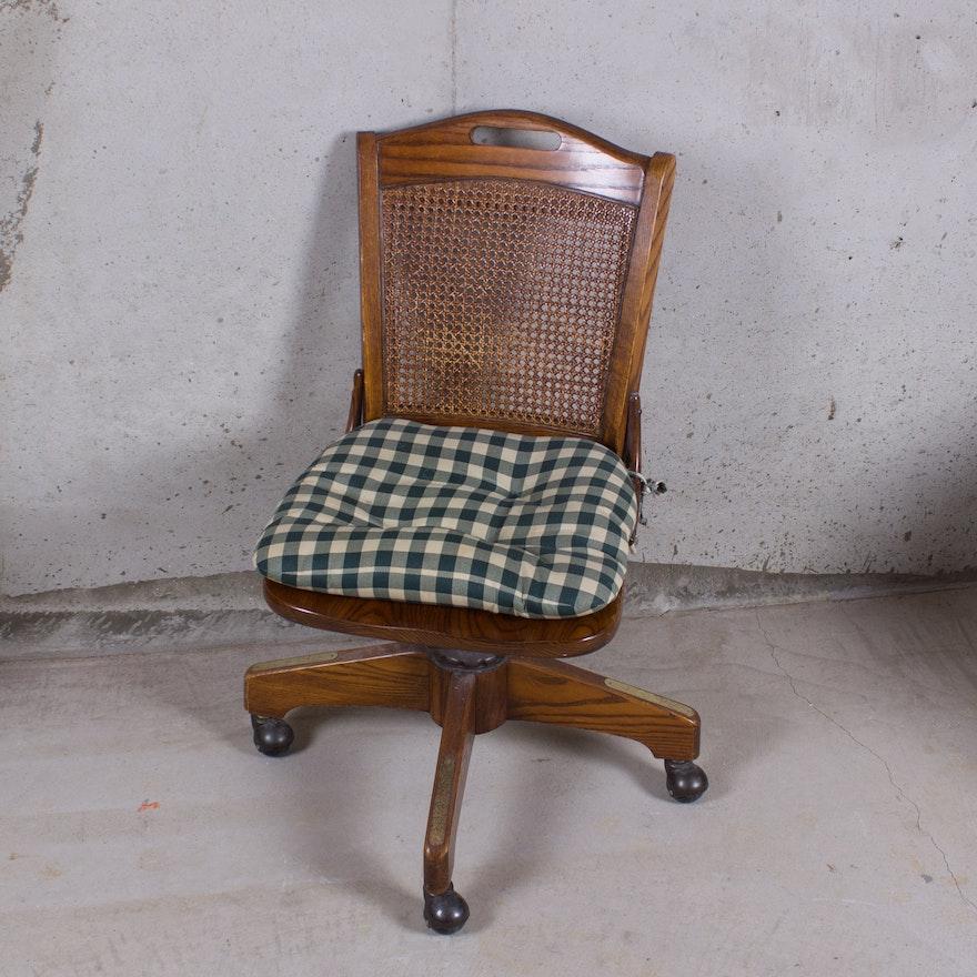 Swivel Cane Back Oak Desk Chair With Cushion Ebth