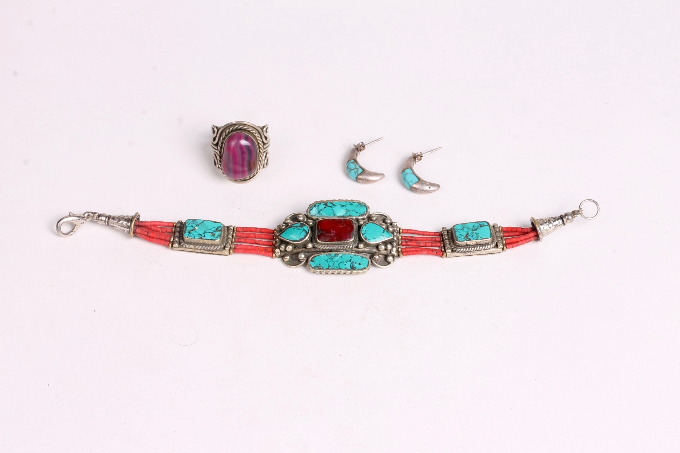 Navajo Style Turquoise, Coral, and Sterling Silver Jewelry
