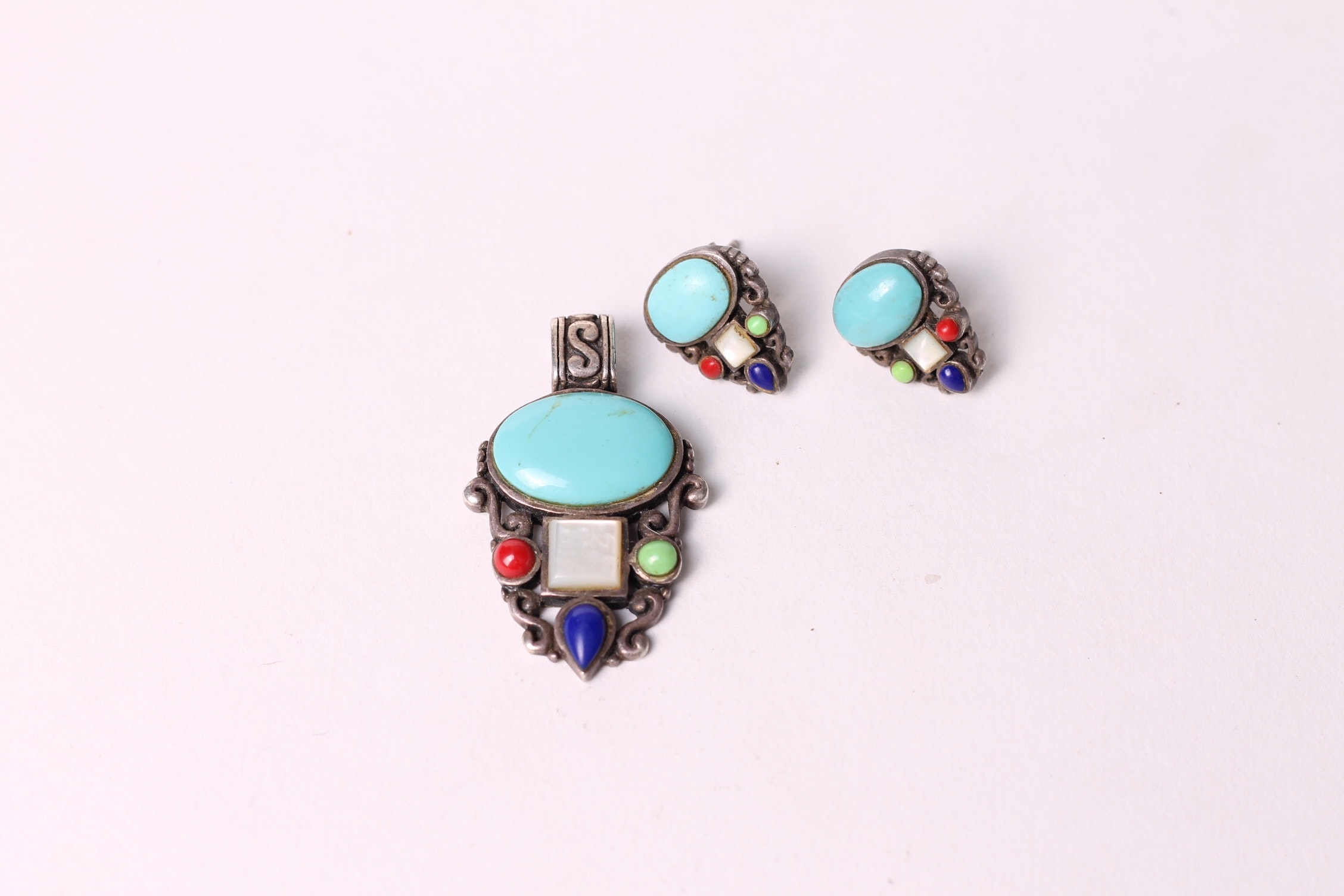Navajo Style Turquoise and Sterling Silver Multi-Stone Demi Parure