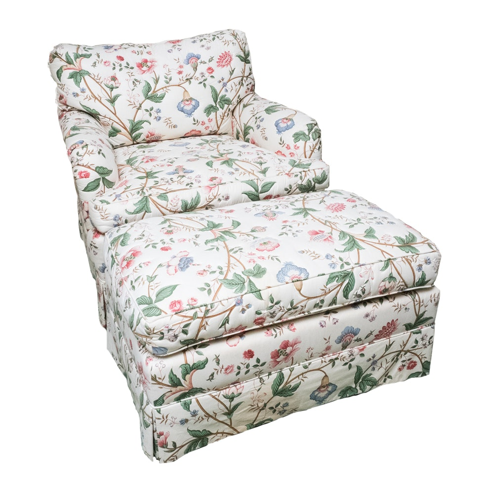 Floral Club Chair And Ottoman ...