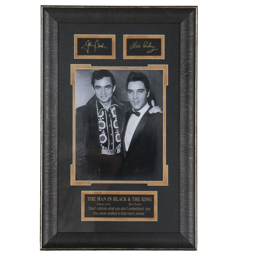 Framed Photograph of Johnny Cash And Elvis Presley : EBTH