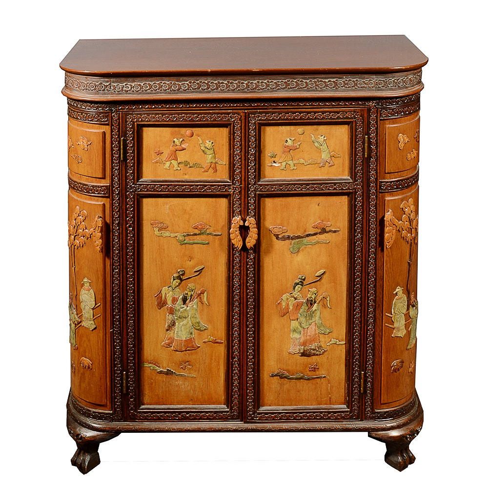 Vintage Chinese Liquor Cabinet With Soapstone Inlay ...
