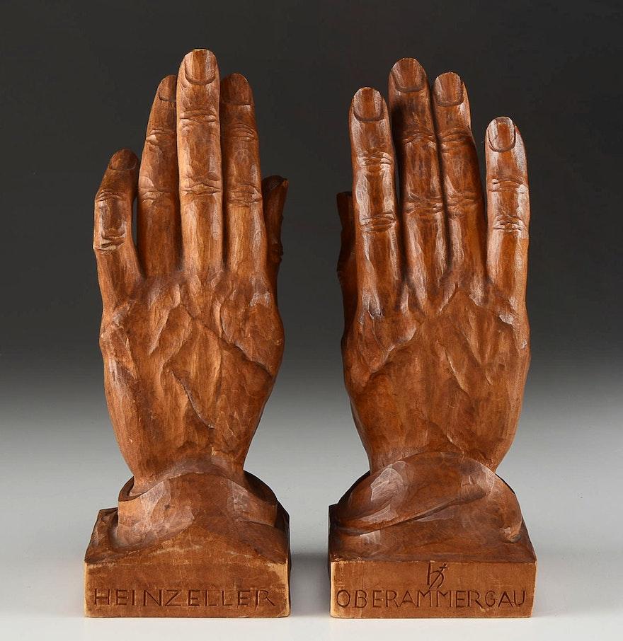 Pair of vintage hand carved heinzeller wood figurines