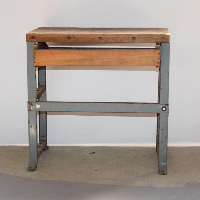 vintage butcher block and metal work bench ebth
