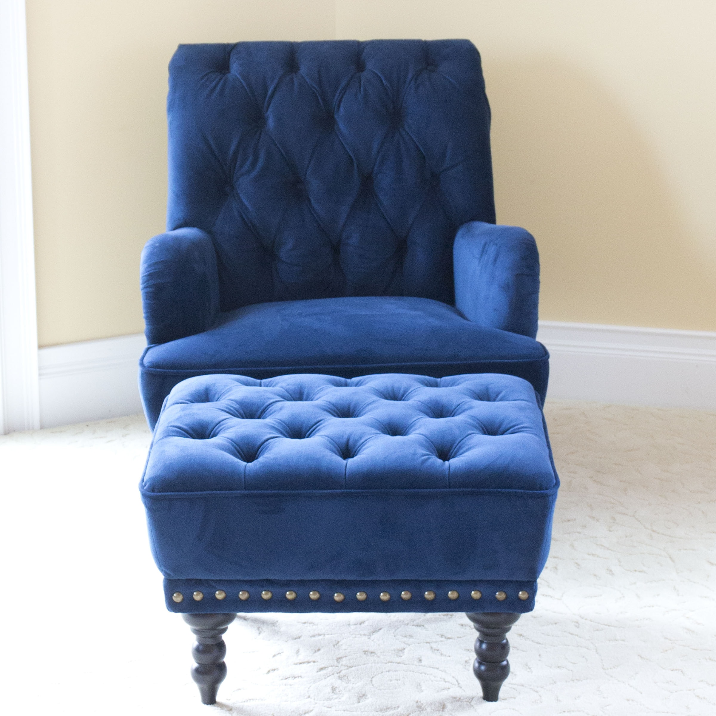 Tufted Navy Armchair And Ottoman Ebth