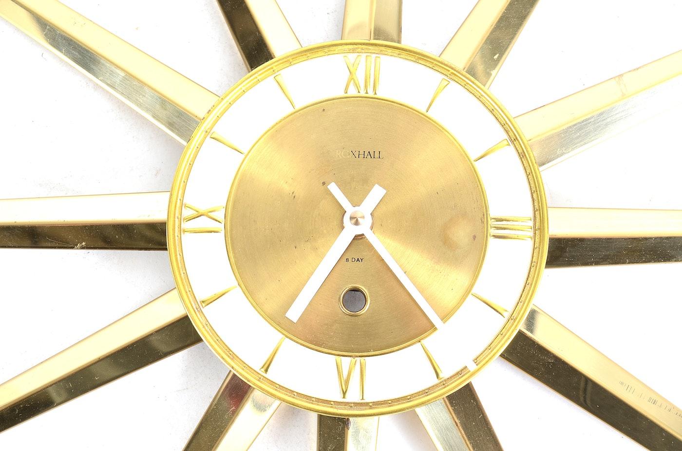 Roxhall Eight Day Brass Starburst Wall Clock Ebth