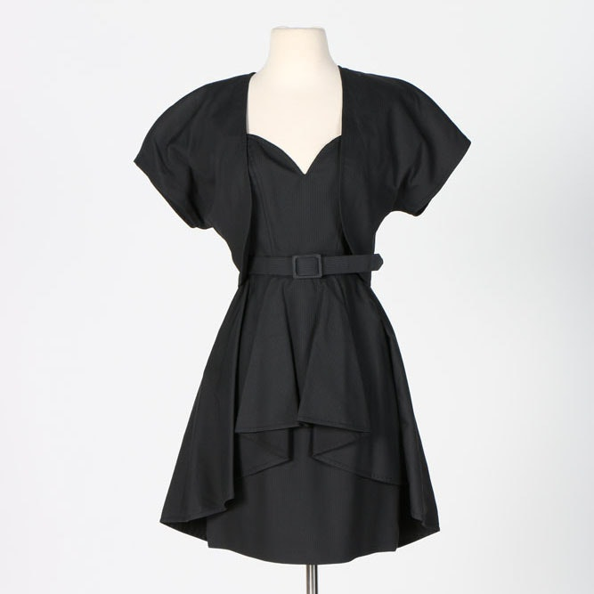 Guy Laroche Black Cocktail Dress with Belt and Jacket