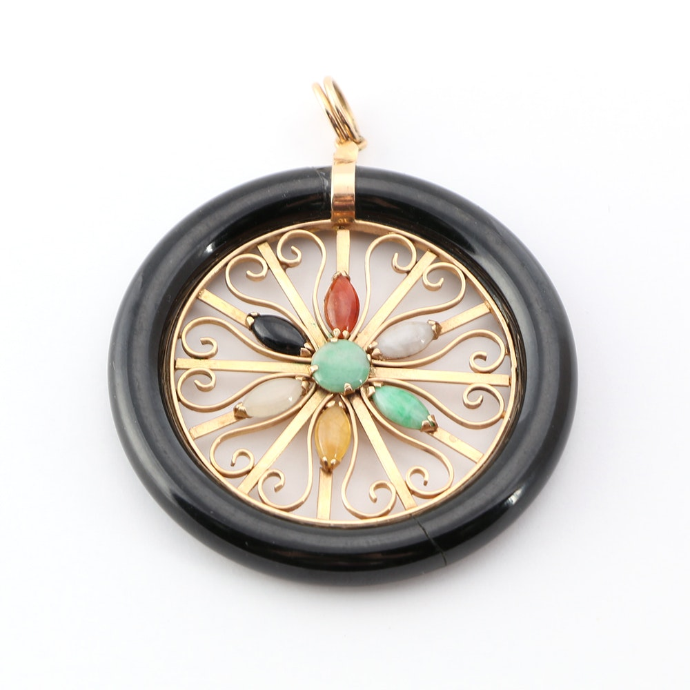 14K Yellow Gold Black Onyx and Jadeite Pendant
