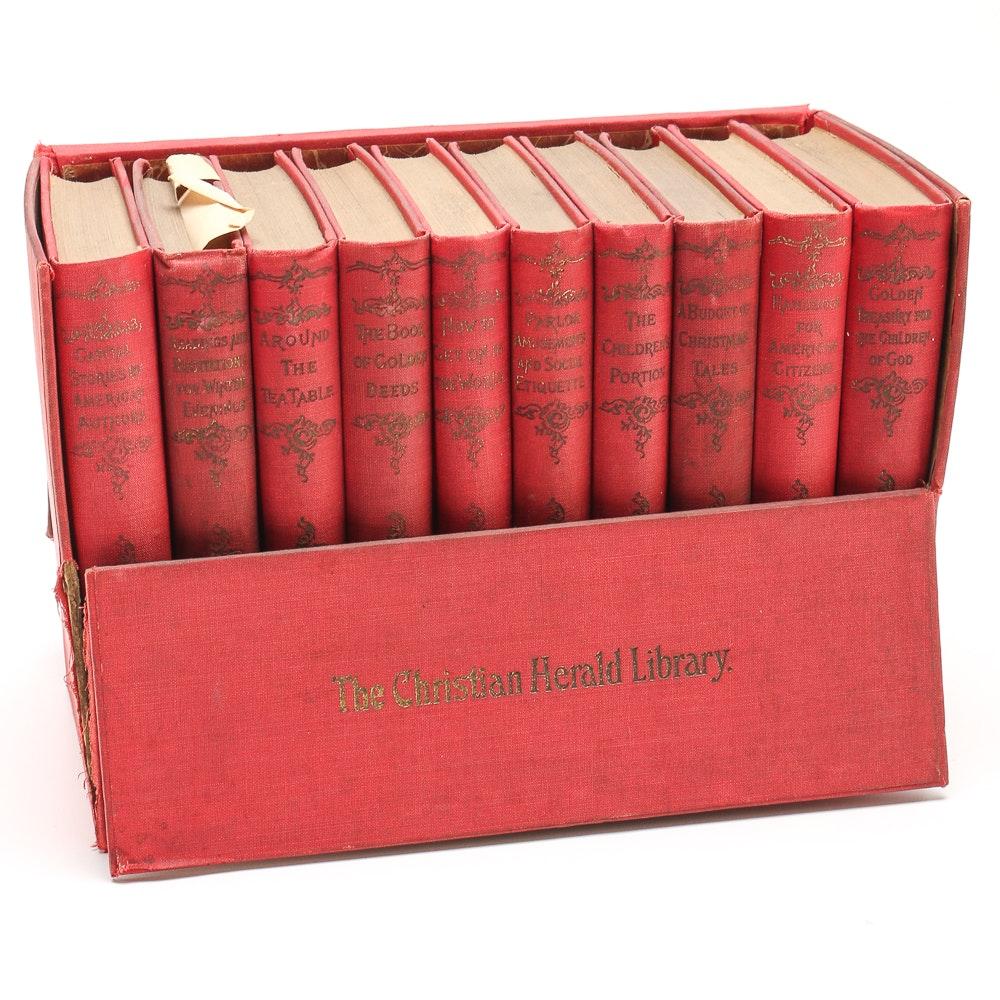 Circa 1900 Boxed Christian Herald Library Ten Volume Set
