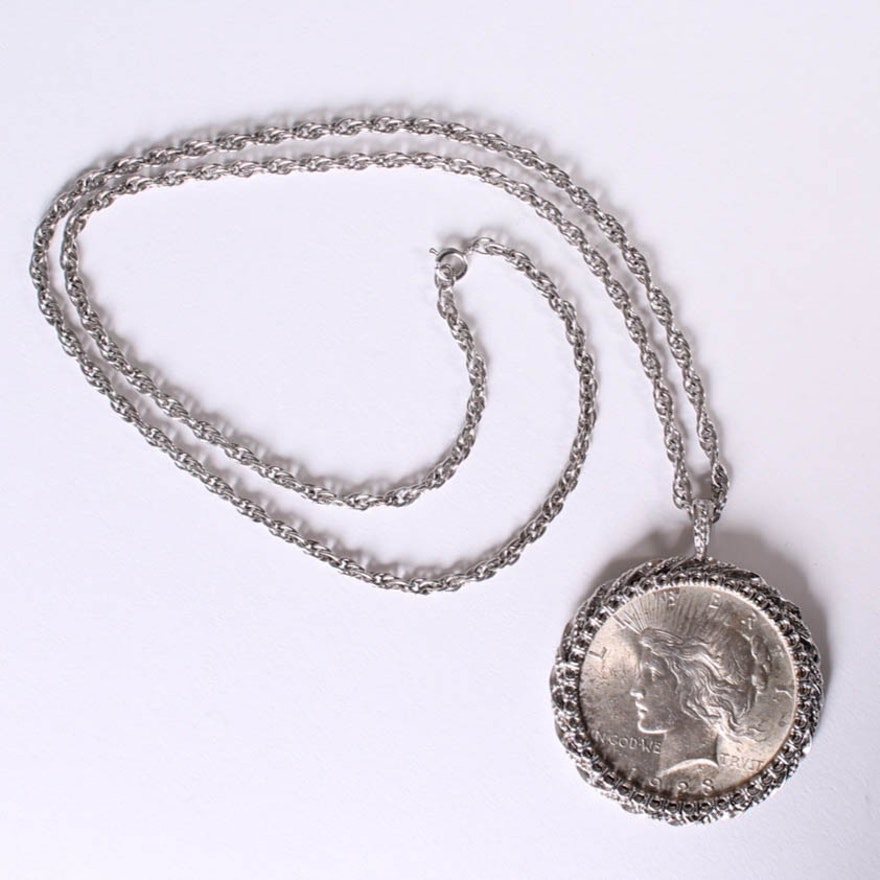 1923 peace silver dollar pendant and chain ebth 1923 peace silver dollar pendant and chain mozeypictures Choice Image