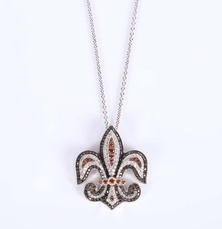 diamond fleur de lis pendant necklace ebth