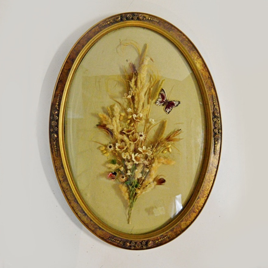 Floral Arrangement In An Antique Oval Frame With Convex Glass Ebth