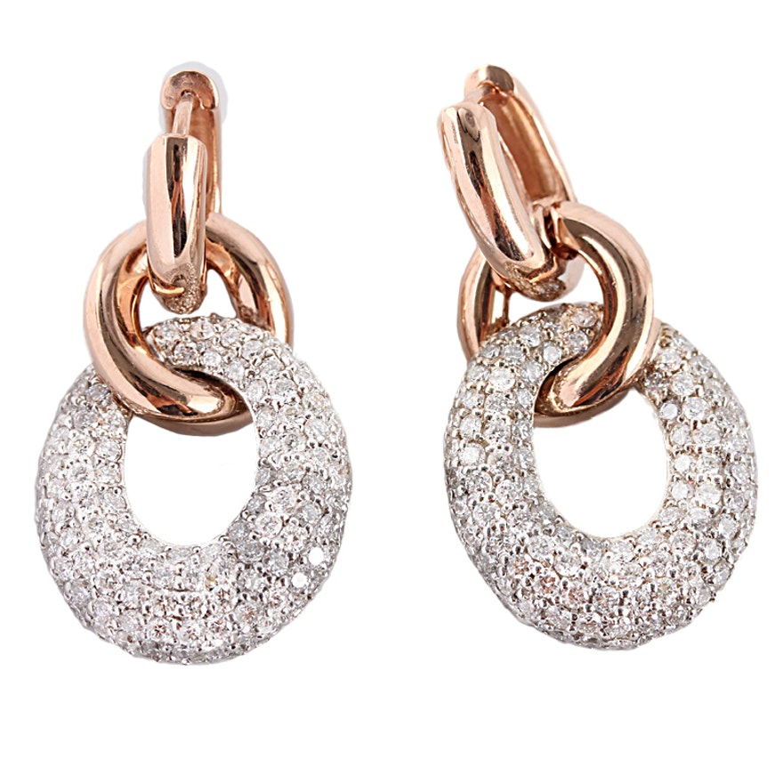 14k Diamond Encrusted Hoop Earrings