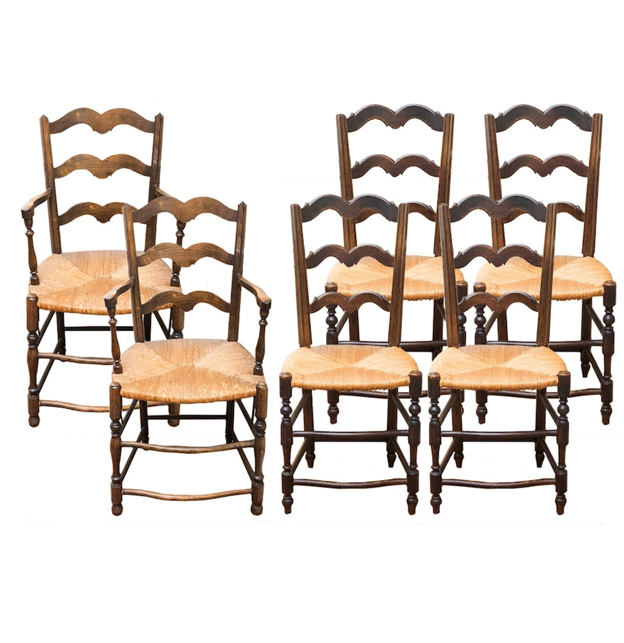 Vintage French Country Ladder Back Dining Chairs : EBTH