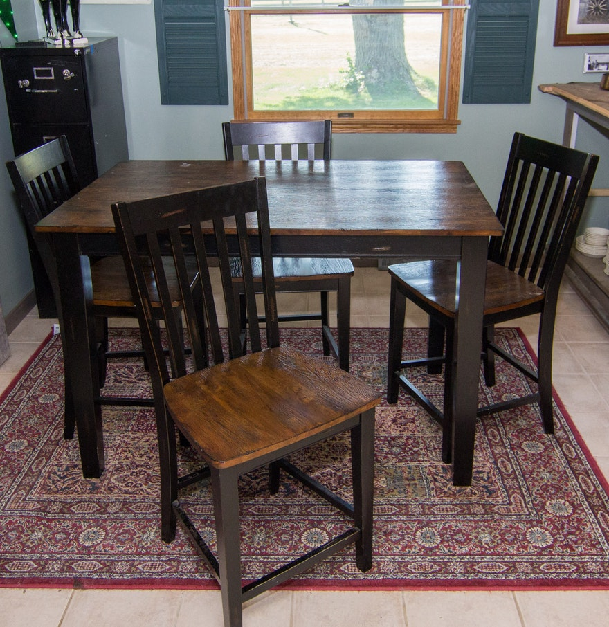 rustic high top table with chairs ebth. Black Bedroom Furniture Sets. Home Design Ideas