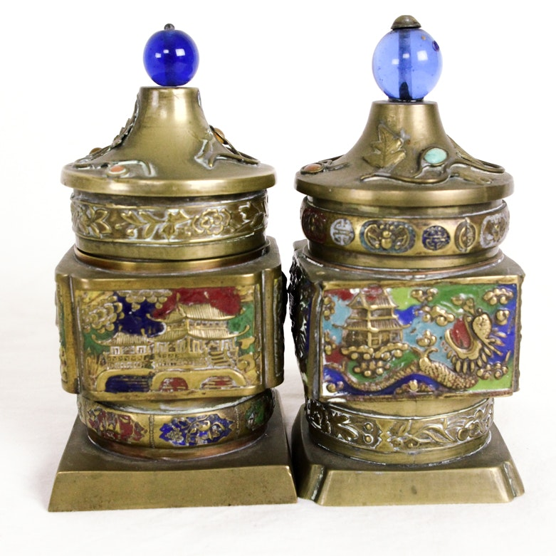 Decorative Chinese Brass and Enamel Containers
