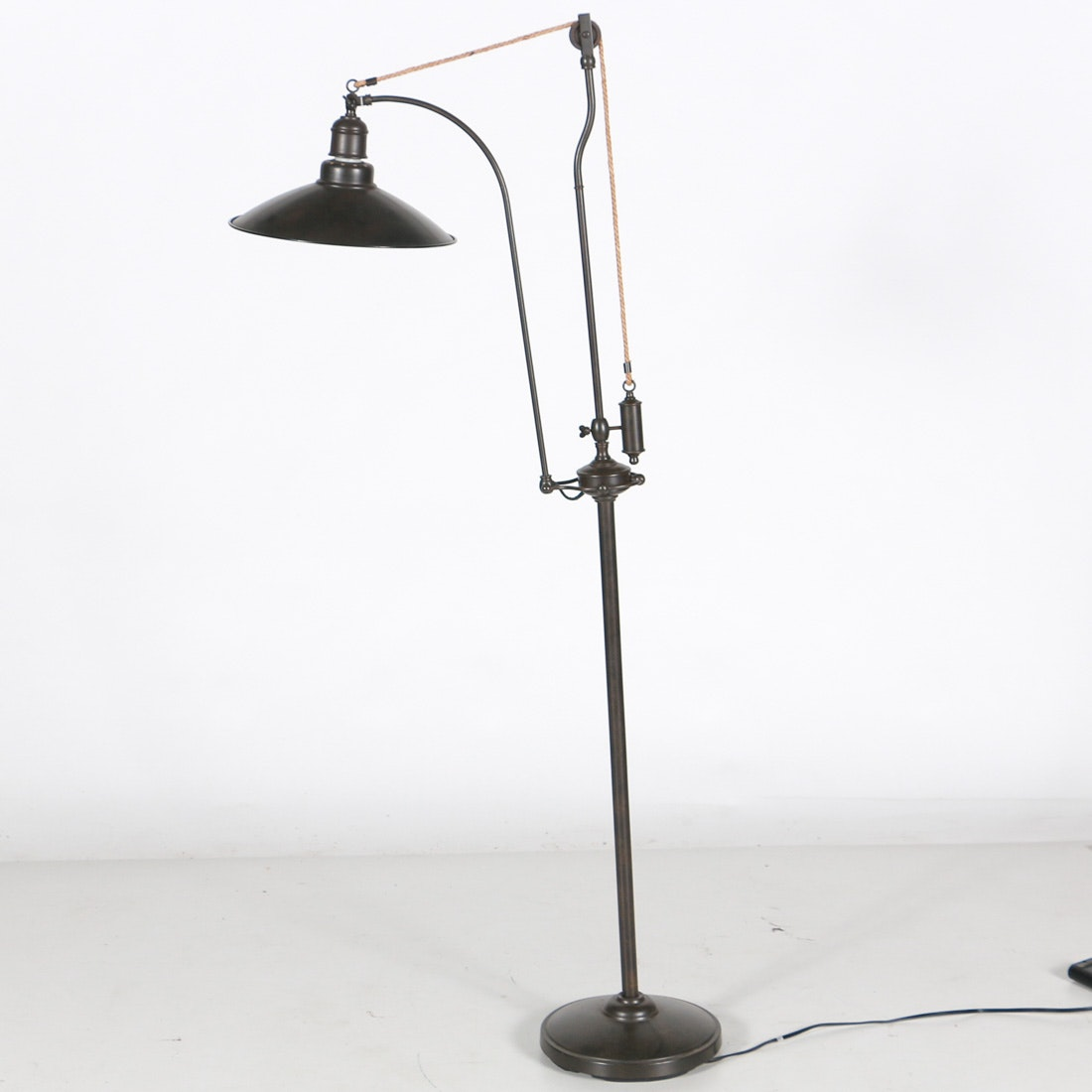 Industrial Style Floor Lamp With Decorative Pulley Ebth