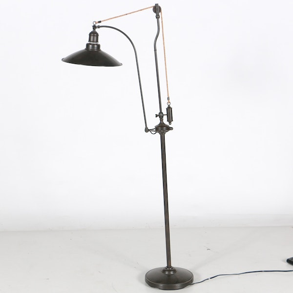 industrial style floor lamp with decorative pulley ebth. Black Bedroom Furniture Sets. Home Design Ideas