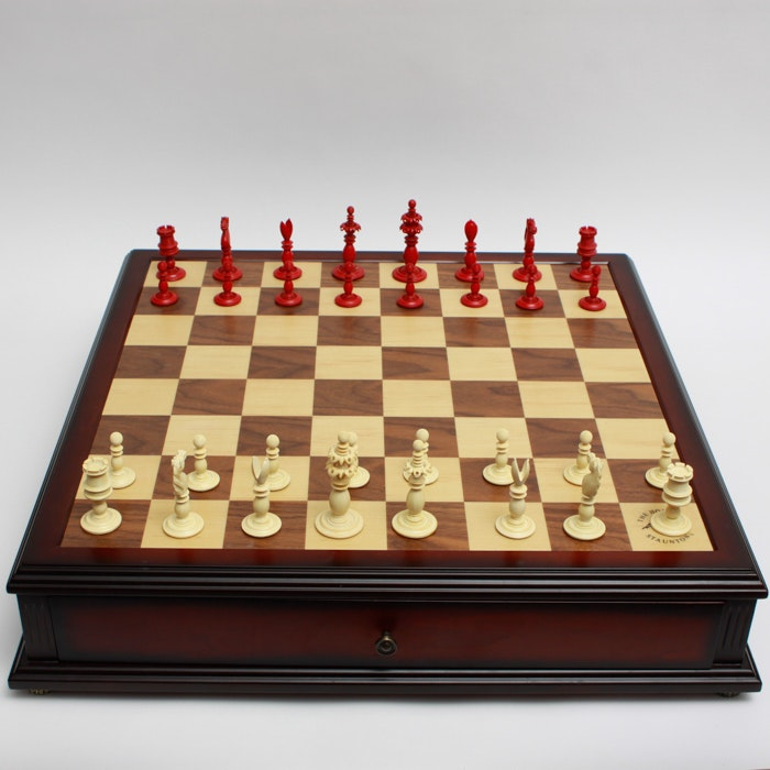 Chess Board and Pieces Made by The House of Staunton