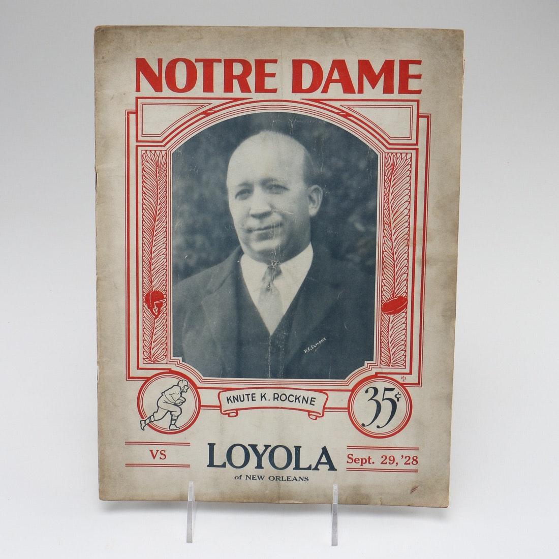 1928 Notre Dame Football Program