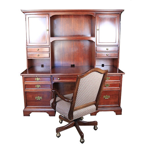 Early 21st Century Double-Pedestal Desk and Hutch by Brewster & Stroud and an Office Chair