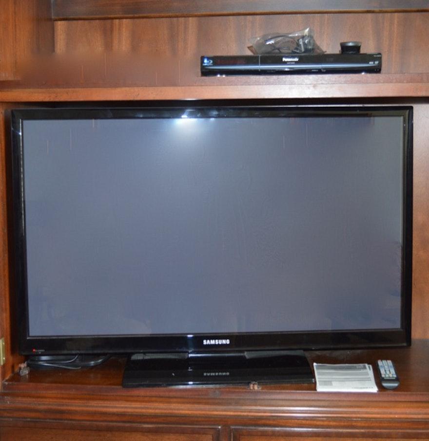 Samsung Flat Screen Television And Panasonic Blu-ray Disc