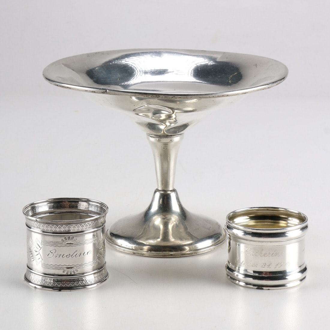 Vintage Sterling Napkin Holders and Compote