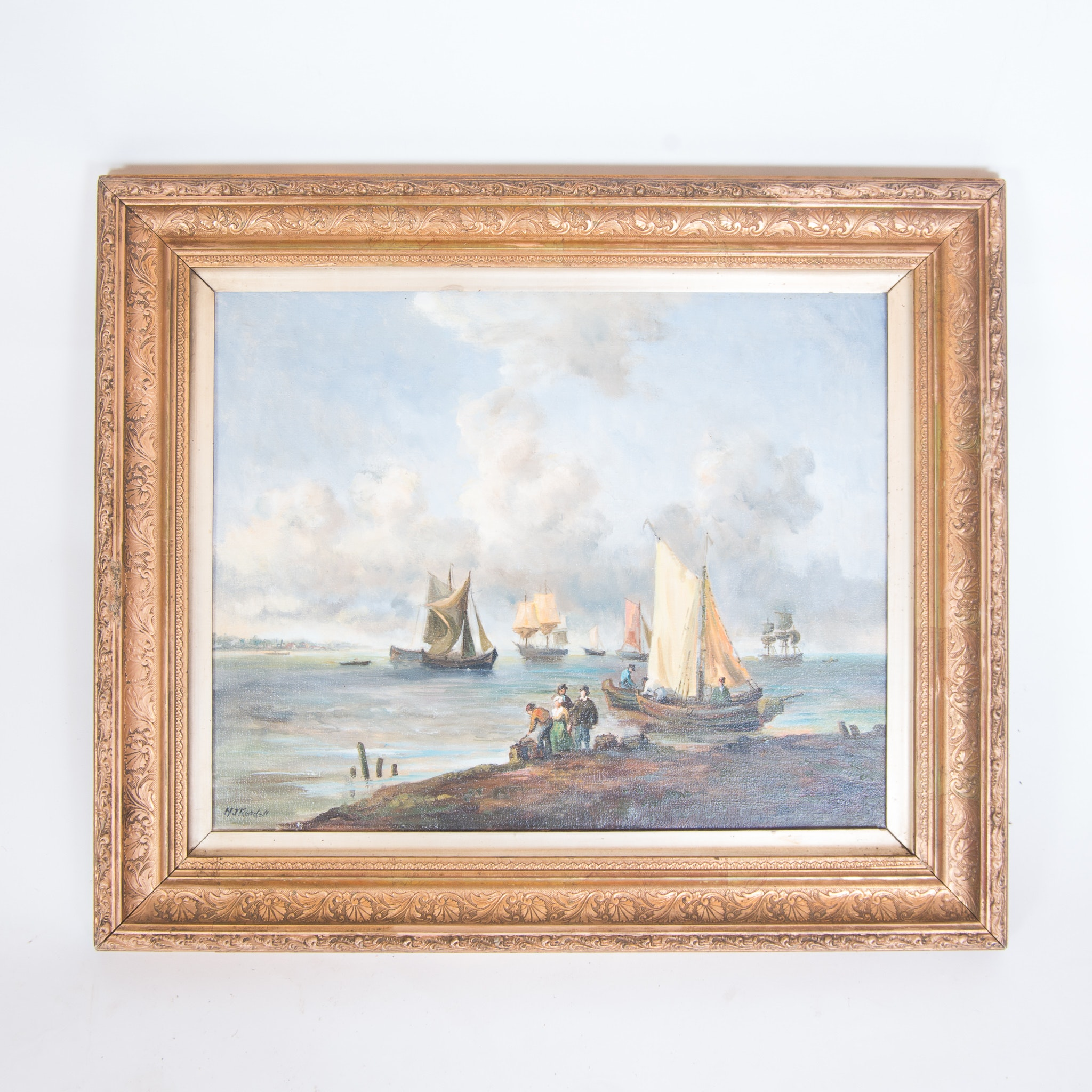 M J Rendell Signed Original Oil Painting of a Seascape