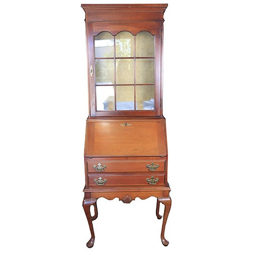 Late 20th to Early 21st Century Queen Anne Style Secretary Bookcase
